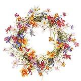LTWHOME Dmr 45cm handgemachter Frühling Sommer Kranz mit Mehrfarbiger kleine Blumen für Haus,...