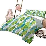 Juego de colcha de colcha Juegos de ropa de cama para niños Grunge Formas geométricas ovaladas gemelas Curvas verticales elípticas Patrón de tema de la naturaleza Tamaño King Verde Turquesa Blanco