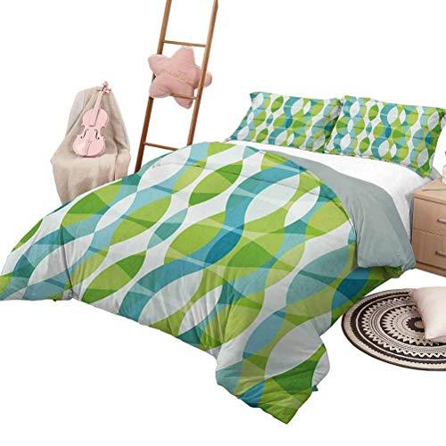 Juego de colcha de colcha Juegos de ropa de cama para niños Grunge Formas geométricas ovaladas gem