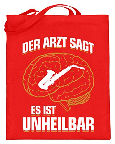 shirt-o-magic Saxophon: .es ist unheilbar - Jutebeutel (mit langen Henkeln) -38cm-42cm-Rubinrot