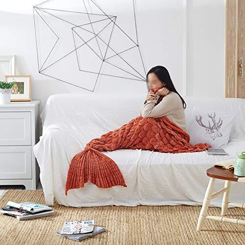 XXLLQ Meerjungfrau Decke, Handgemachte häkeln meerjungfrau Flosse Decke für Erwachsene, Mermaid Blanket alle Jahreszeiten Schlafsack Für Erwachsene,4,195 * 90cm(0.55kg)