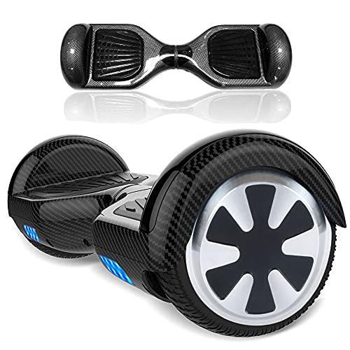 """Magic Way Hoverboard - 6,5"""" - Bluetooth - Moteur 700 W - Vitesse 15 km/h - LED - Skateboard Électrique Auto-équilibrée - pour Enfants et Adultes (Noir Carbon)"""