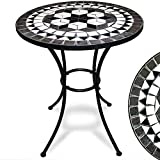 Deuba Bistrotisch Oriental Mosaik Tisch Ø 60 cm Höhe 70 cm pulverbeschichtetes Metall Terrassentisch Garten Tisch