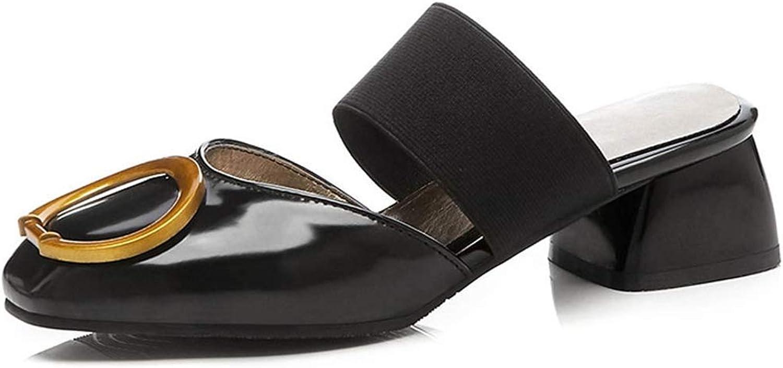 Women's Mule Backless Loafer Square Toe Faux Leather Block Heel Slides Slipper Slip On Pump Dress shoes