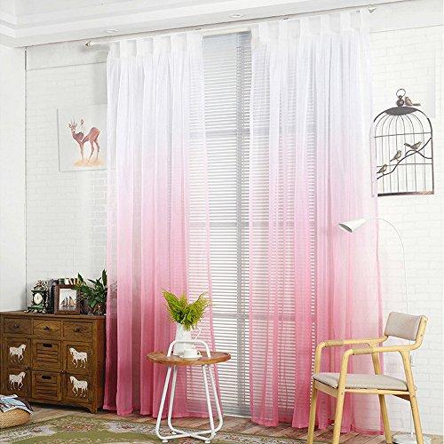 NIBESSER Transparent Farbverlauf Gardine Vorhang Schlaufenschal Deko für Wohnzimmer Schlafzimmer 2 Stück (2er Set 245cmx140cm, Weiß und Rosa)