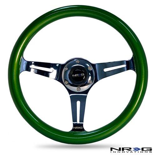 NRG Innovations ST-015CH-GN Classic Wood Grain Wheel (350mm 3 chrome spokes, green pearl/flake paint)