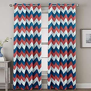 H.VERSAILTEX Ultra Sleep Well Thermal Insulated Blackout Curtain for Bedroom/Living Room, Grommet Panel Window Curtains/Drapes(Set of 2, Coral and Blue Moon, 52