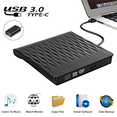 Externes CD DVD Laufwerk, USB 3.0 Schlanker Tragbarer Externer CD DVD Brenner, High-Speed-Datenübertragung Optisches USB Laufwerk für PC Desktop/Laptop/Linux/Macbook/Windows 10/8/7/XP(Schwarz)