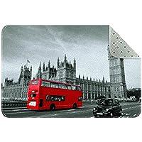 ロンドン通り キッチン、ベッドルーム、リビングルーム用の洗えるフロアマットラグ長方形の保育園用ラグ