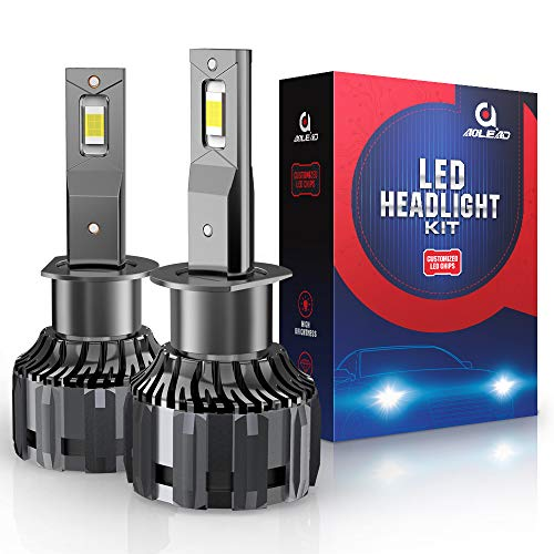 AOLEAD H1 LED Headlight Bulbs, 60W 12000 Lumens Super Bright 6000K CSP Chips Conversion Kit
