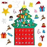 Calendario de Adviento de Santa,Calendario de Adviento Navidad en Pared,de Fieltro,con Bolsillos de 24 días Adornos Colgantes de Cuenta Regresiva para Decoraciones de Pared de Puertas (Forma de árbol)