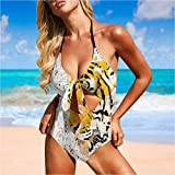 Backless Thong Bikini Swimsuits Vector Wildlife Tiger Super Cute and Unique