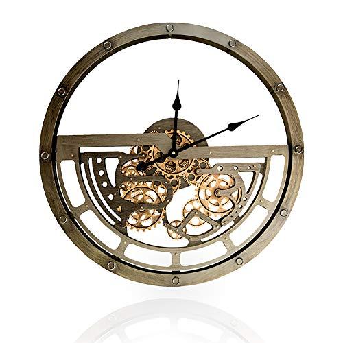 MZBZYU Zahnrad Wanduhr 3D Vintage Industrie Rotierende Mechanische Uhr Mute Ohne Tickgeräusche 45cm Durchmesser Rad Sägezahn Uhr Batteriebetrieben für Wohnzimmer Schlafzimmer Büro