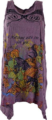 Guru-Shop Baba Psytrance - Mini vestido, mujer, algodón, camiseta estampada, ropa alternativa Flores / Lila S