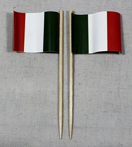 Buddel-Bini Party-Picker Flagge Italien Papierfähnchen in Profiqualität 50 Stück 8 cm Offsetdruck Riesenauswahl aus eigener Herstellung