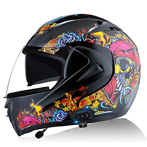 Casco de Moto Modular Bluetooth Integrado ECE/DOT Homologado con un Micrófono Incorporado Anti Niebla Visera Doble Adultos Hombres Mujeres Cascos Moto ( Color : Color skull , Size : Small 55-56CM )