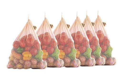 Obst Gemüse Tasche, wiederverwendbare Obst Tasche, Einkaufstasche, Mehrwegbeutel Baumwolle, Baumwoll Mesh Taschen, Baumwollbeutel Kordelzug, 6er Set Large