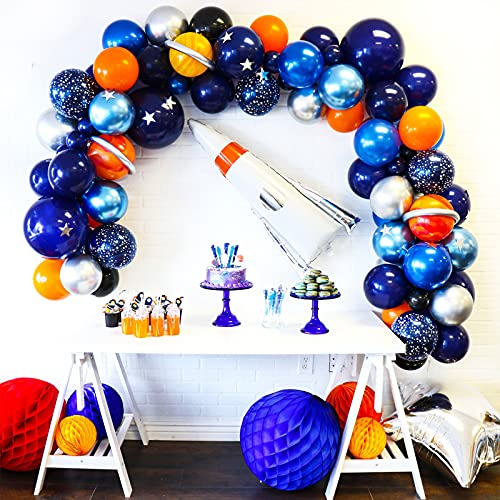 APERIL Espacio Decoraciones Cumpleaños de Fiesta,Globo de Fiesta Espacial Astronauta cumpleaños con Globos de látex,Temáticas del Espacio Exterior Arco Globos,niña niño Tema cumpleaños Decor(77 Pcs)