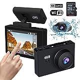 Iseebiz 4K WiFi Dashcam mit GPS, 3'' OLED 2160P Autokamera mit G-Sensor, Loop-Aufnahme, 170° Weitwinkelobjektiv, Parkmonitor, Nachtsicht Kamera für Auto, Touchscreen mit Gestenerkennung