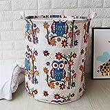 JiaxianGu3Je Faltbare Leinwand, die Wäschekorb-Körbe for Kleidungs-Speicher-Baby-Spielwaren-Speicher, Mehrfarben organisiert (Color : Owl, Size : 40X50)