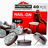 Nail-on Felt Pads X-PROTECTOR – 40 Felt Furniture Pads – Felt Chair Pads for Hardwood Floors – Floor Protectors for Furniture Legs – Best Furniture Sliders for Hardwood Floors! (22 mm)