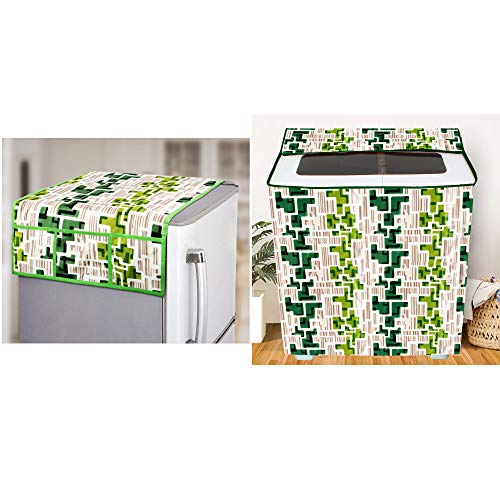 E-Retailer® Combo Set of Semi-Automatic Washing Machine Cover for 5kg to 7.5Kg and Fridge Top Cover with 6 Utility Pockets (Green, Set of 2 Pcs)