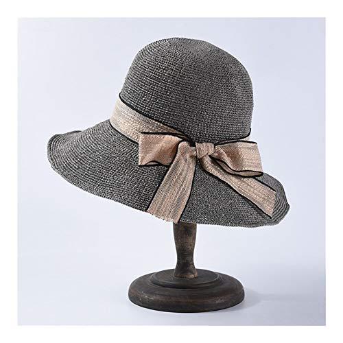 KCBYSS Straw Hat Distaff New Bogen kühlen Papier Gras Hand Haken Visor Faltbare Big Sonnenschutz Strand-Hut (Color : Grey)