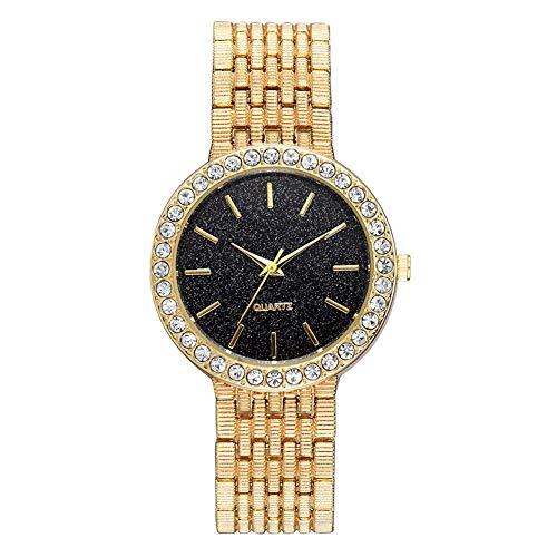 TYYW Elegante Reloj De Pulsera De Cuarzo con Banda De Acero, Espejo De Cristal con Reloj Femenino De Cielo Estrellado (Dorado)
