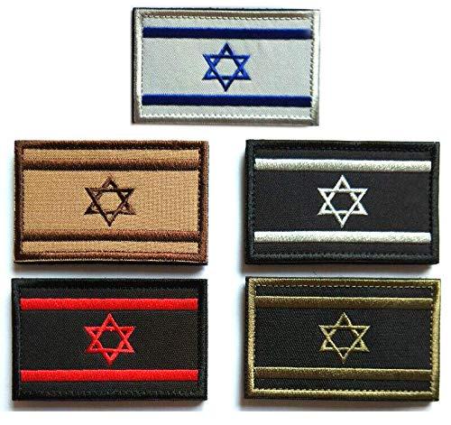 Antrix Aufnäher Israel Israeliten Flagge Patch Haken und Schleife Taktische Militär Armee Uniform Embleme Juden Davidstern Israel Patches für Rucksäcke Mützen Israel 5 Stück