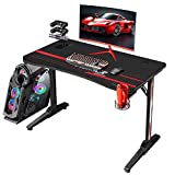 Flamaker Gaming Desk 44 Inch Gaming Table Computer Desk Gamer Table T Shape Game Station with Large Carbon Fiber Surface, Cup Holder & Headphone (Black)