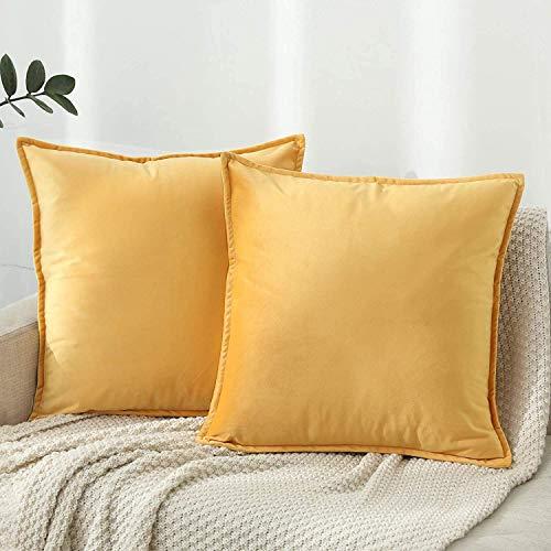 SXYHKJ Juego 2 Terciopelo Fundas Cojines Terciopelo Lino Decorativa (Amarillo, 40x40cm)