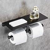 Geruike Doppelter Toilettenpapierhalter WC-Rollenhalter Kein Bohren mit Geräumigem Regal Ohne Bohren Wandhalterung Toilettenrollenhalter mit Handyhalter für Bad und Küche (Schwarz)