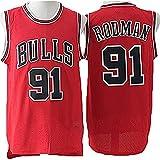 CYQQ Chicago Bulls 91# Rodman NBA Jersey Vintage Ropa Baloncesto de los Hombres Transpirable Quick Secking Sin Mangas Vestima Top para Deportes, Camiseta de Fan(Size:XXL,Color:A1)
