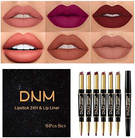 6Pcs Set Lip Liner and Lipstick Set Kit Double Color Head Matte Lipstick 24H Lip Liner 2 in product image