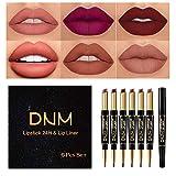 6Pcs Lip Liner and Lipstick Set, DNM Double Color Head Matte Lipstick 24H & Lip Liner 2 in 1 Kit,Waterproof Long Lasting Dark Red Matte Mat Lipstick Gift Set with Matching Lipliner Pens