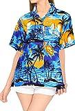 LA LEELA de la Mujer clásica Camisa Hawaiana Mangas Cortas