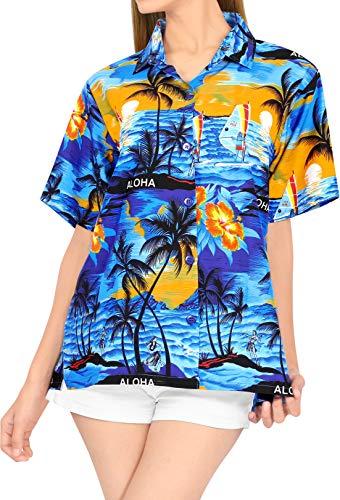 LA LEELA de la Mujer clásica Camisa Hawaiana Mangas Cortas botón hacia Arriba S - ES Tamaño :- 42-44 Azul_V612
