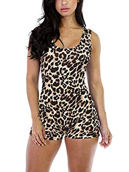 Alaroo Women Sleeveless Tank Tops Short Romper Leopard Print Sports Jumpsuit Bodysuit One Piece Short Catsuit S