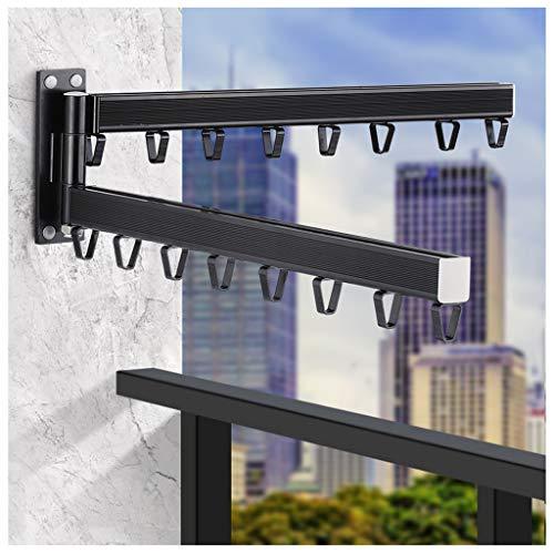 LXLTL Tendedero de Ropa Plegable, Girar 180 ° Balcon Tendedero de Ropa Pared Retráctil Interior Invisible,Estante para Secado de Ropa,Negro
