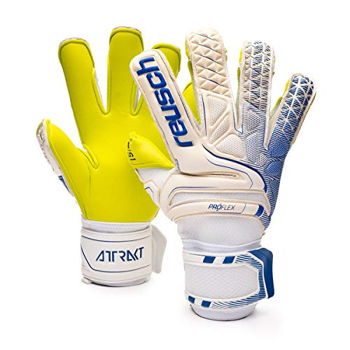Reusch Attrakt S1 Evolution Finger Support Goalkeeper Glove, White/Deep Blue/Lime, Size 9