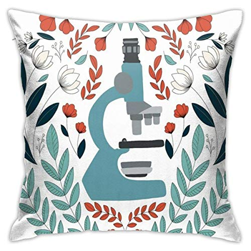 JUCHen Blue Folk Microscope Decorative Pillow Case Cushion Cover Ziplock Double Sides Printed