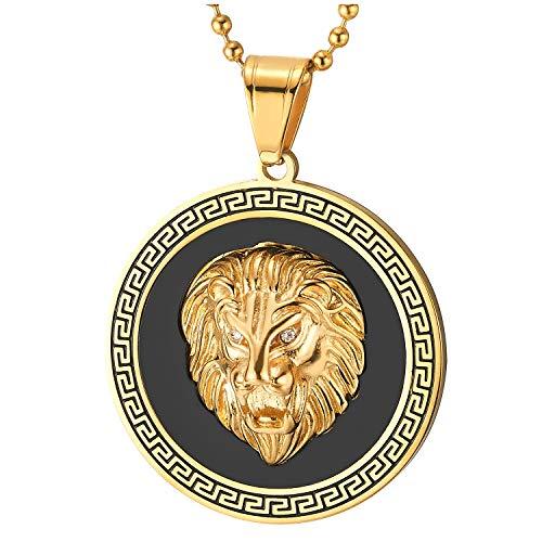COOLSTEELANDBEYOND Edelstahl Löwenkopf Kreis Anhänger Halskette mit Zirkonia, Schwarz Onyx, Griechischen Schlüsselmuster, Gold Schwarz