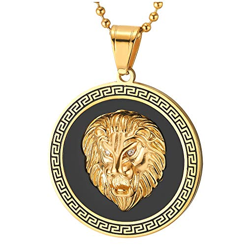 COOLSTEELANDBEYOND Men Steel Lion Head Circle Medal Pendant Necklace with CZ, Black Onyx, Greek Key, Gold Black