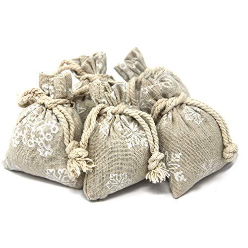 Quertee 5 x Lavendelsäckchen zu Weihnachten | Duftsäckchen mit Sternchenmotiv aus Leinen | Weihnachtsgeschenk | Französischer Lavendel | Mottenschutz für Kleiderschrank | 75g Lavendelblüten
