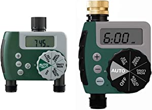 Orbit 58910 Programmable Hose Faucet Timer, 2 Outlet, Green & 62056 One Outlet Single-Dial Hose Watering-timers