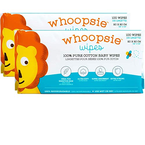 Whoopsie Wipes | Ultra-Soft - 100% Pure Cotton Dry Baby Wipes | Use Wet or Dry | Soft & Sensitive | Hypoallergenic | Extra Strong & Absorbent | Perfect for Diaper Changes, Runny Noses, Drool, Meal Time & Nursing (2-Pack)