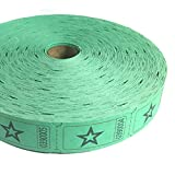 1 X 2000 Green Star Single Roll Consecutively Numbered Raffle Tickets