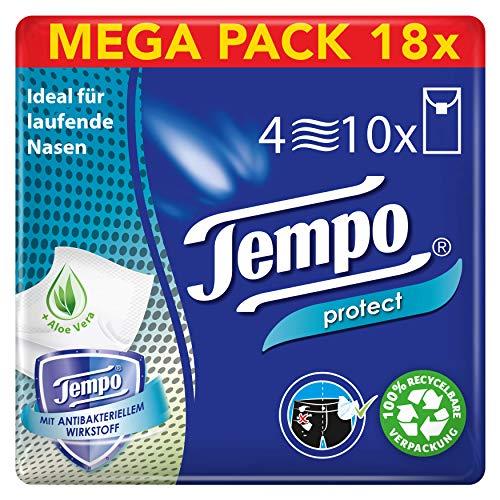 Tempo Protect Taschentücher, Mega Pack, 18 Packungen (10 Päckchen x 10 Tücher)