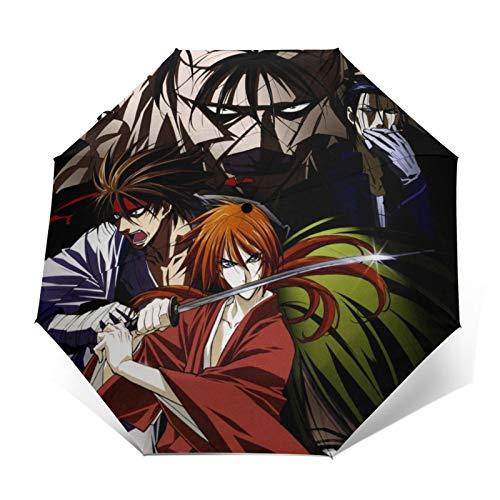 Rurouni Kenshin paraguas portátil de tres pliegues paraguas de viaje impermeable anti-UV resistente al viento paraguas automático para unisex