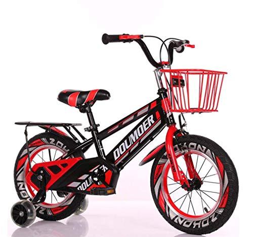 GASLIKE Bicicleta para niños Bicicleta para niños con Ruedas de Entrenamiento Hummer Flash, Bicicletas de Pedales para niños/niñas para niños de 3-6-9 años con Soporte de Asiento y Cesta,Rojo,14inch